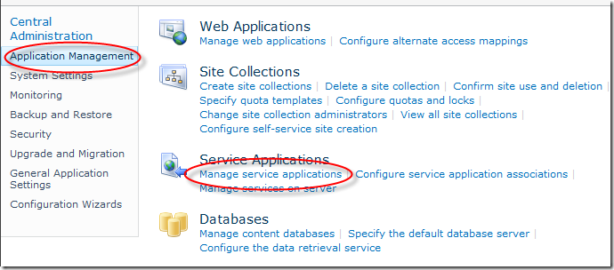 Application Management > Manage Service Applications