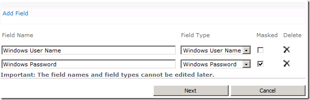 Target Applicaton Fields - User Name and Password