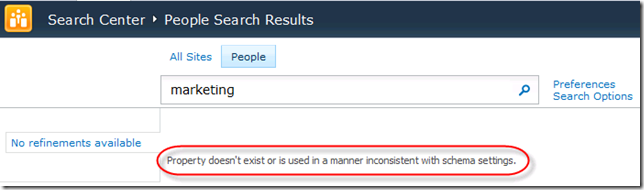 Error in People Search Core Results Web Part: Property doesn't exist or is used in a manner inconsistent with schema settings.