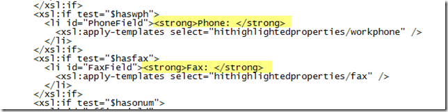 Modifying XSL to show labels for Phone and Fax