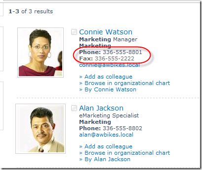 Search results showing both work number and fax number with labels