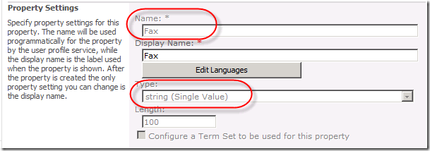 Property Settings. Notice Name and Type.