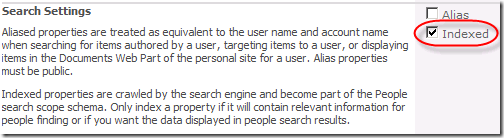 Profile Property Search Settings: Indexed Checked