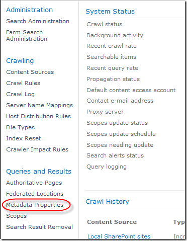 In the Search Service Application, Click on Metadata Properties