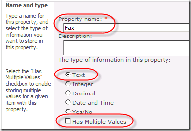 New Managed Property settings: Property Name and type