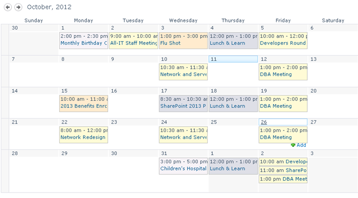 color-code events on a SharePoint Calendar