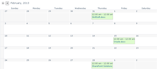 Calendar View for a SharePoint Library