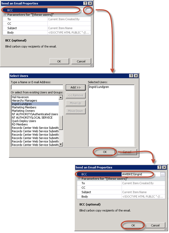 SharePoint Designer Workflow Email BCC field in the Send an Email Properties dialog box