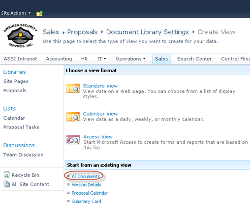 Create a custom SharePoint Library View by choosing Start from an existing view