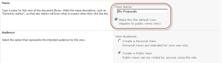 Give the SharePoint library view a name and make it the default view