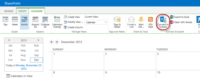 SharePoint Connect to Outlook button