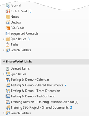 Lists and Libraries connected to Outlook