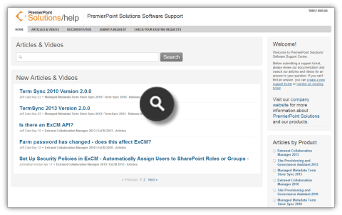ExCM 2013 Screenshots - Support and Documentation