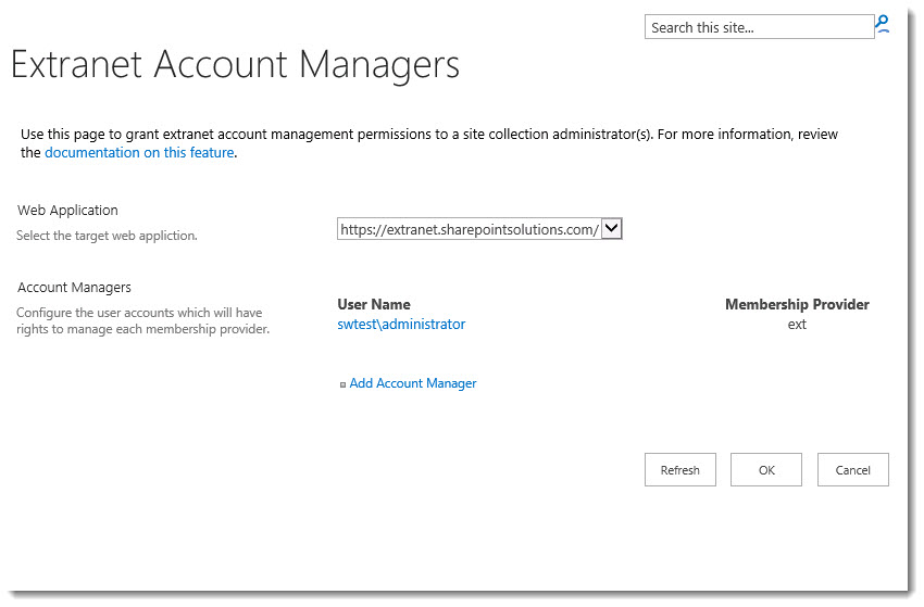 ExCM 2013 R2 Extranet Account Managers
