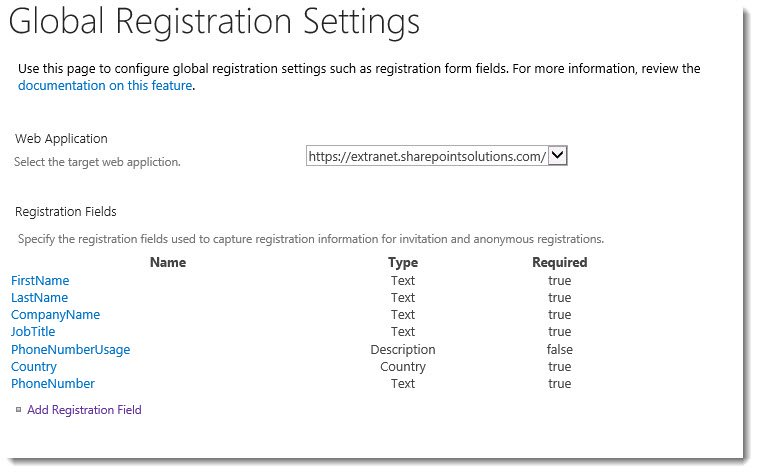 ExCM 2013 R2 Global Registration Fields