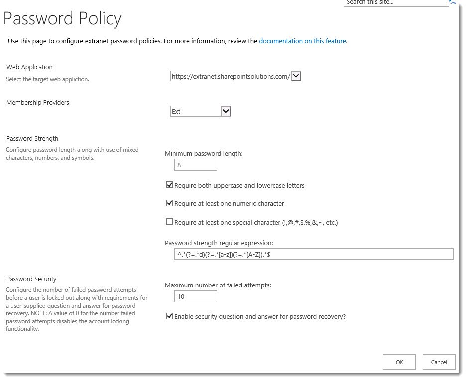 ExCM 2013 R2 Password Policy Settings