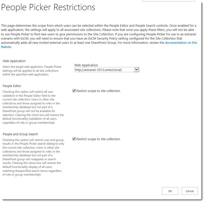ExCM 2013 R2 People Picker Restrictions