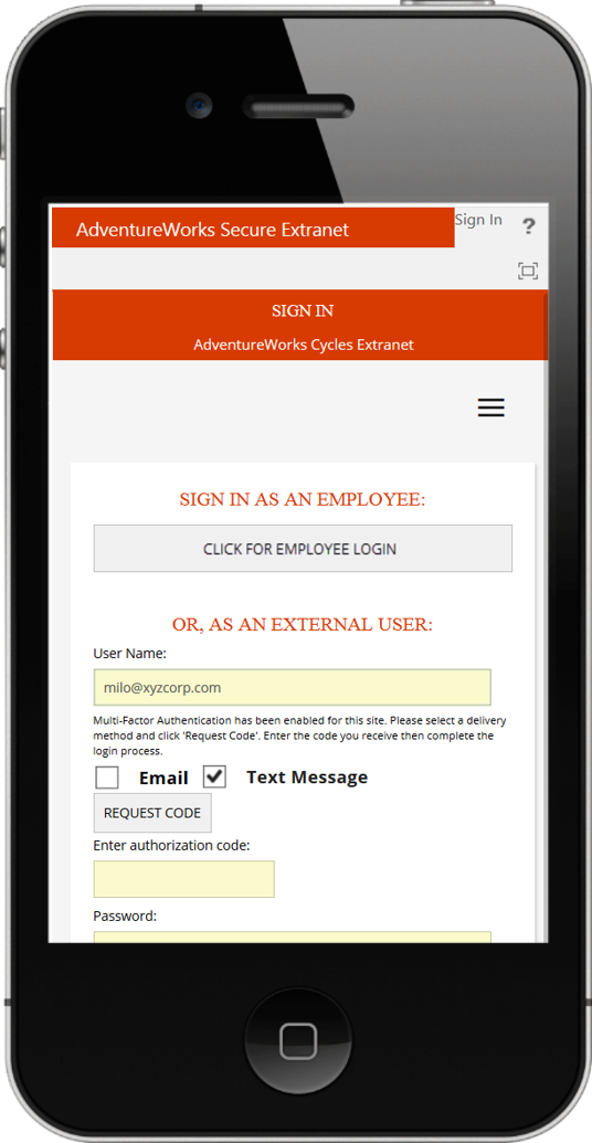 responsive ExCM SignIn.aspx on iphone